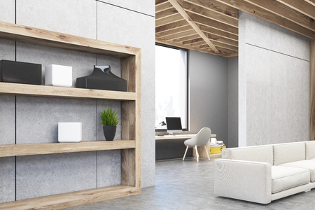 living room wall: Side view of a gray living room interior with wooden shelves, a soft sofa and a computer table. Large window with a cityscape. 3d rendering, mock up
