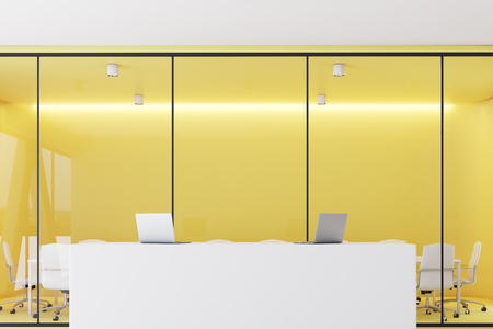 Front View Of A Reception Desk Standing In An Office Corridor ...