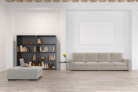 living room wall: Close up of a living room with a black bookcase standing near a long gray sofa and a large horizontal poster hanging above it. 3d rendering, mock up Stock Photo