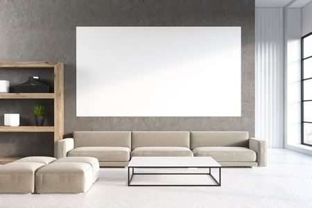 interior design home: Living room interior with a gray sofa, a horizontal poster hanging above it and a bookcase in the corner. Concrete floor. 3d rendering, mock up