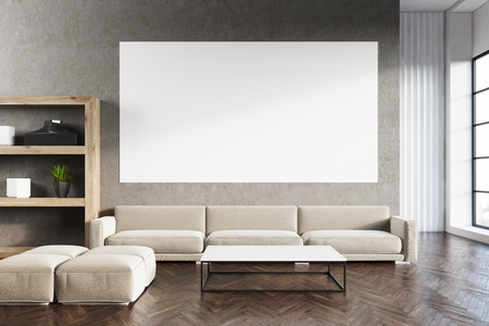living room wall: Living room interior with a gray sofa, a horizontal poster hanging above it and a bookcase in the corner. Wooden floor. 3d rendering, mock up