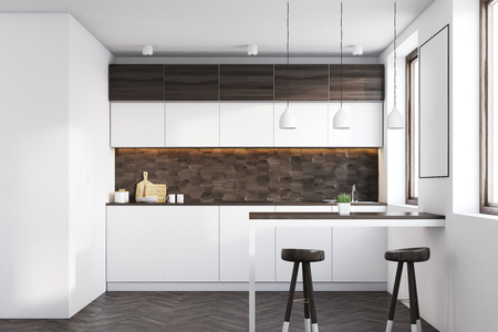 kitchen range: Kitchen interior with dark wooden and white walls, white countertops, a table and two stools. 3d rendering