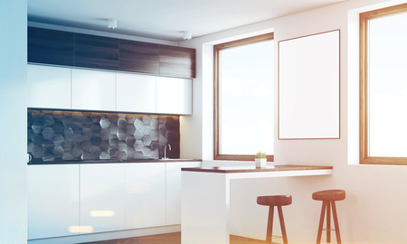 renovated: Side view of a kitchen interior with dark wooden and white walls, white countertops, a table and two stools. 3d rendering, mock up, toned image