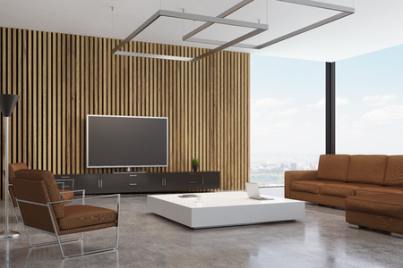 Living room interior with a brown sofa and an armchair standing near a white coffee table. There is a tv set near a wooden wall. 3d rendering, mock up. Stock Photo