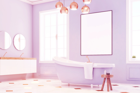 Corner of a blue bathroom interior with a blue bath tub, a chair with shampoo and a vertical poster in the center. 3d rendering, mock up, toned image Stock Photo