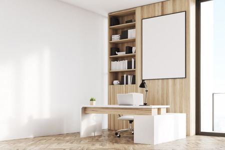 office furniture: Side view of a CEO office interior with light wooden walls, a poster, a bookcase and a computer desk. 3d rendering, mock up