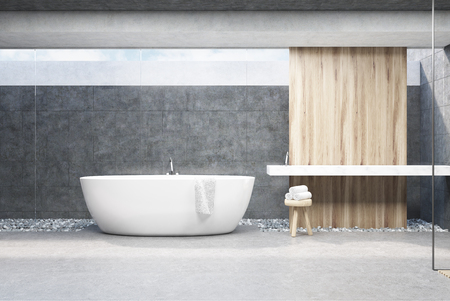 Interior of a bathroom with dark gray walls, a white tub, a flat double sink and a chair with beauty products. 3d rendering