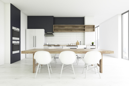 countertop: Front view of a kitchen interior with a concrete floor, a long wooden table with white chairs and a large fridge. 3d rendering