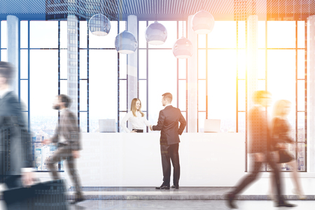 double exposure: Front view of businesspeople passing by a reception counter in an office with panoramic windows. 3d rendering, toned image, double exposure