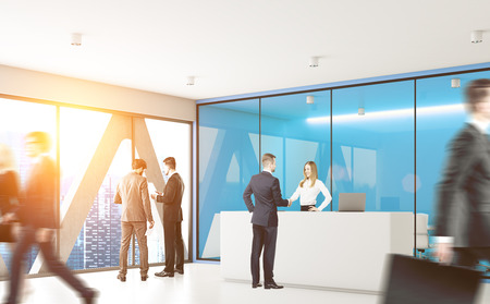 Businesspeople are passing by a reception counter in an office with blue walls. 3d rendering, toned image