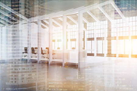 meet up: Side view of a house framed conference room with a white floor and walls and three tables with chairs around them. 3d rendering, toned image, double exposure.