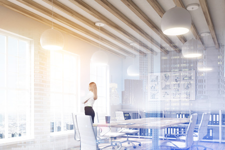 double exposure: Side view of a blond businesswoman looking in the window in a conference room. 3d rendering, toned image, double exposure