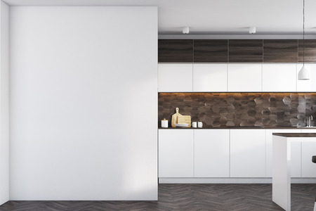 stainless steel: Kitchen interior with dark wooden and white walls, white countertops, a table and a large blank wall fragment. 3d rendering, mock up
