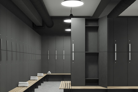 Front view of a gray locker room with benches along the rows of lockers. One of the lockers door is open. 3d rendering