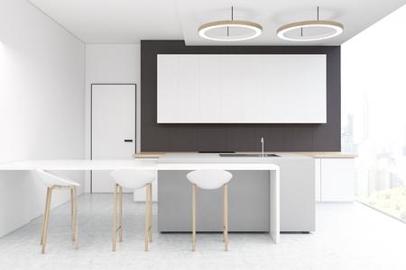 Mesa Pared Cocina. Interior De La Cocina Con Una Pared Gris Oscuro ...