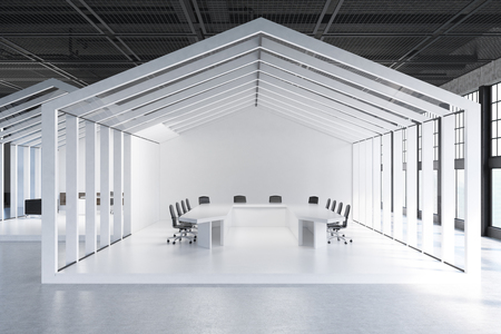 of them: House framed conference room with a white floor and walls and three tables with chairs around them. 3d rendering.