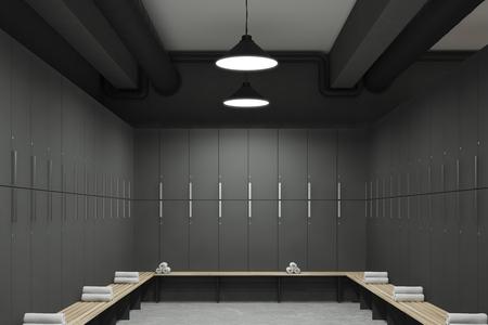 Vista delantera de un vestuario gris con los bancos a lo largo de las filas de los armarios. Hay toallas enrolladas en ellos. Representación 3D