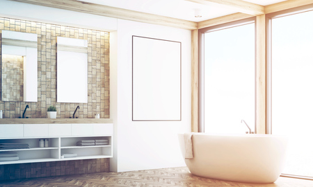 renovated: Corner of a bathroom with light tiles, two mirrors, a double sink a large white tub and a poster hanging near it. 3d rendering, mock up, toned image Stock Photo