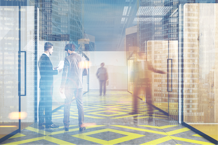 double exposure: People in an office corridor with a yellow and gray floor pattern, wooden walls and glass doors. 3d rendering, toned image, double exposure.