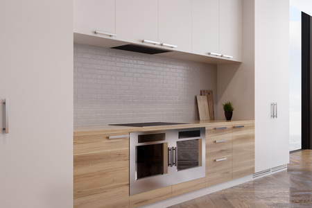 custom cabinet: Close up of a kitchen interior with two ovens, a row of white cupboards and a fridge. 3d rendering, mock up