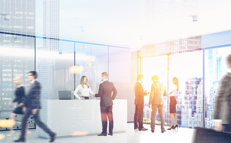business meeting: Businesspeople are passing by a reception counter in an office with gray walls. 3d rendering, toned image, double exposure