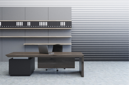 perforated: Interior of a clerk office with a gray perforated wall, a large desk and a bookcase with folders standing on them. 3d rendering, mock up