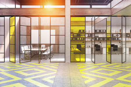 Office lobby with yellow and gray floor pattern, a meeting room and an open space. 3d rendering, toned image. Stock Photo