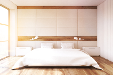 furniture home: Minimalist bedroom interior with a white wall, a large window, a double bed with white bedding and two bedside tables. 3d rendering, toned image.