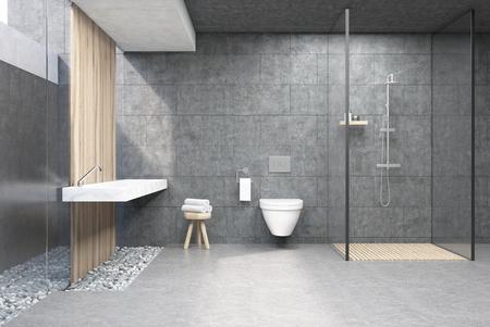 Badkamer interieur met grijze muren, een douchecabine met glazen wand, een toilet en een dubbele wastafel. 3D-weergave.