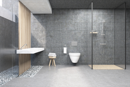 Bathroom interior with gray walls, a shower cabin with glass wall, a toilet and a double sink. 3d rendering.