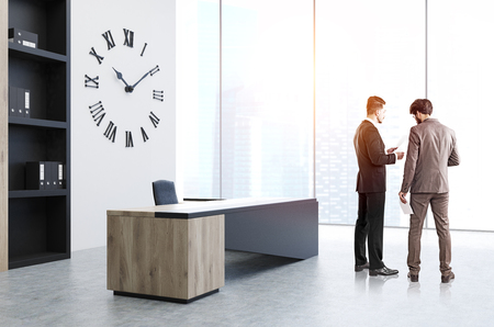 ceo: CEO office, clock, people