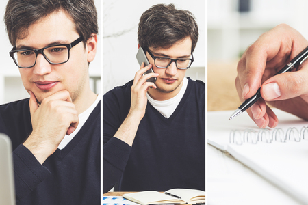 businessman pondering documents: Collage made of three images of a young businessman wearing glasses talking on the phone, thinking and writing in a notebook.