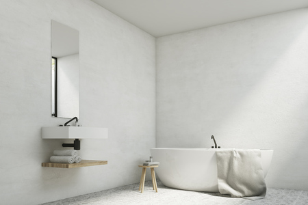 bathroom mirror: White bathroom interior with a sink, a mirror hanging above it and a white tub standing near a wall. 3d rendering, mock up