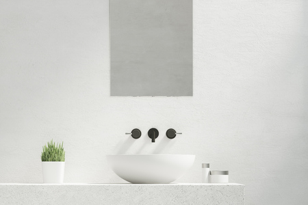hygien: Bathroom sink with a mirror hanging above it and a potted plant standing to the left of it. 3d rendering.