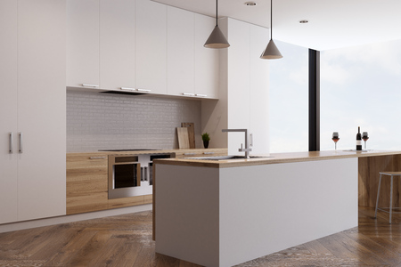 custom cabinet: Side view of a kitchen interior with two ovens built in light wooden countertops and a bar. Panoramic window in the background. 3d rendering, mock up