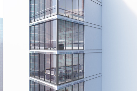 sides: Corner of an exterior of a white skyscraper with large windows and a gigantic posters by their sides. 3d rendering, mock up Stock Photo
