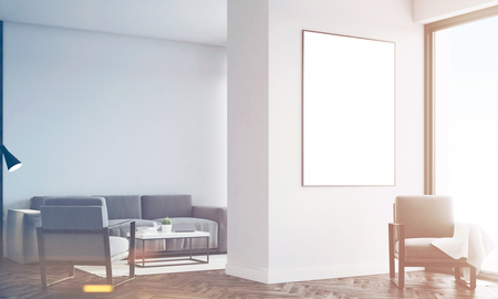 prestige: Corner of a living room interior with white walls, two gray armchairs, a sofa and a large framed vertical poster. 3d rendering, mock up, toned image