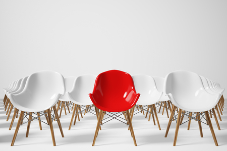 Front view of rows of white chairs standing in an auditorium on a white floor near a white wall. There is a red chair among them. 3d rendering, mock up