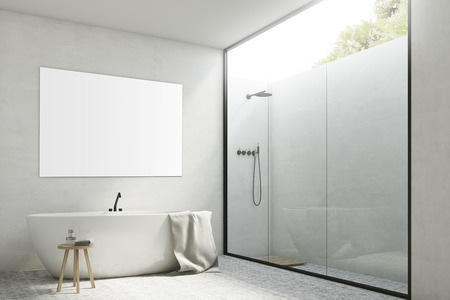 Corner of a white bathroom interior with white walls, a tub standing near it, a poster hanging above it and a shower with a glass wall. 3d rendering, mock up