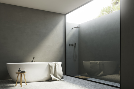 bathroom mirror: Corner of a gray bathroom interior with white walls, a tub standing near it and a shower with a glass wall. 3d rendering, mock up