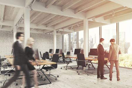 filling folder: Business people are walking in an open office interior with pillars, computers standing on wooden tables and panoramic windows. 3d rendering, toned image