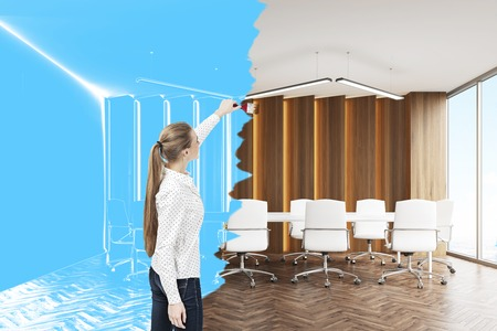 Rear view of a blond woman drawing a meeting room blueprint. Concept of design and creativity. 3d rendering.