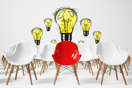 Front view of rows of white chairs standing in an auditorium on a white floor near a wall with a light bulb sketch. There is a red chair among them. 3d rendering