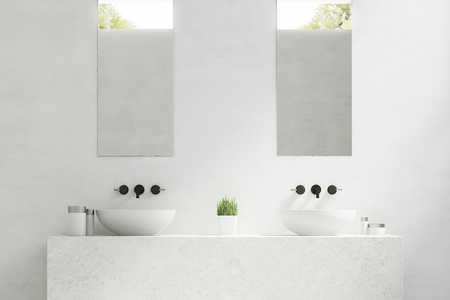 Close up of two bathroom sinks with mirrors hanging above them and a potted plant standing between them. 3d rendering. Фото со стока
