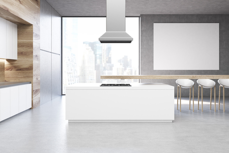Front view of a kitchen with a row of countertops and a long table with chairs. A horizontal poster is hanging above it. 3d rendering, mock up