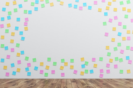White wall is covered by many colored sticky notes and an opening in the middle. There is a wooden floor in the room. 3d rendering, mock up Stock Photo