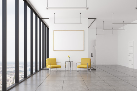 Empty office waiting area with two yellow armchairs standing near a coffee table and a framed horizontal poster hanging above it. 3d rendering, mock up, toned image