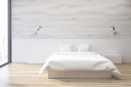 matrimonial: Minimalistic bedroom interior with a double bed standing near a gray wall with a tall window. 3d rendering.