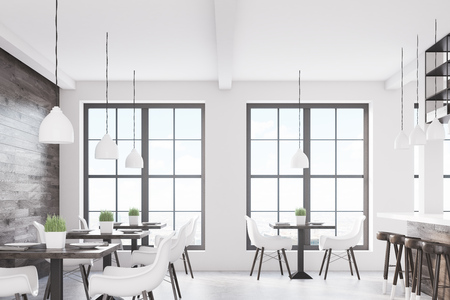 Cafe interior with two windows, square tables and white chairs. There is a dark wooden wall. 3d rendering