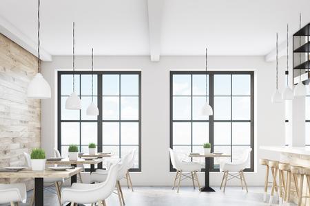 두 개의 창, 정사각형 테이블과 흰색 의자가있는 카페 인테리어. 밝은 나무 벽이 있습니다. 3 차원 렌더링 스톡 콘텐츠